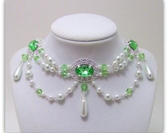 Victorian Necklace - Renaissance Jewelry - Medieval Jewelry - Swarovski Crystal Necklace, Tudor Jewelry, Victorian Jewelry, Elizabethan
