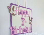 Dog Party Sign with Ribbon - standard design - girly terrier dog collection