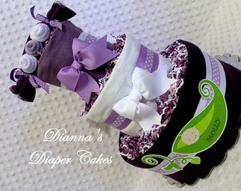 Peas in a Pod Baby Diaper Cake Choose Color Single Twins Triplets Boy Girl Neutral Light or Dark Skin Tone Shower Gift Centerpiece