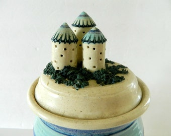 Stoneware Kitchen Canister Ocean Seaside Sand Castle Storage Organization