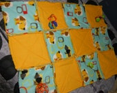 Baby Girl/Boy Activity Rag Quilt Reversible in Yellow and Aqua Hound dogs