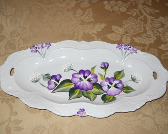 China / Porcelain Table Platter /Jewelry Tray Purple Pansies design