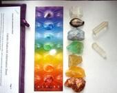 Chakra Crystal Kit/Book, Calcite & Quartz, 9 stone set, 50+page guide on Crystal, Chakra, empowerment, carrying bag, chakra bookmark