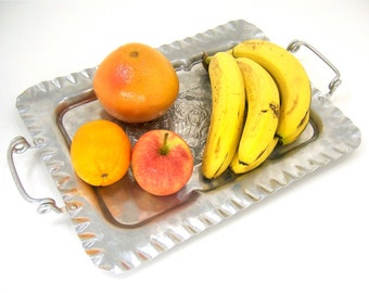 Aluminum serving tray mid century retro home living decor kitchen dining, vintage gift idea for women men, fruit cookies candy cheese coffee