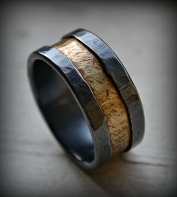 mens wedding band rustic silver and brass ring handmade