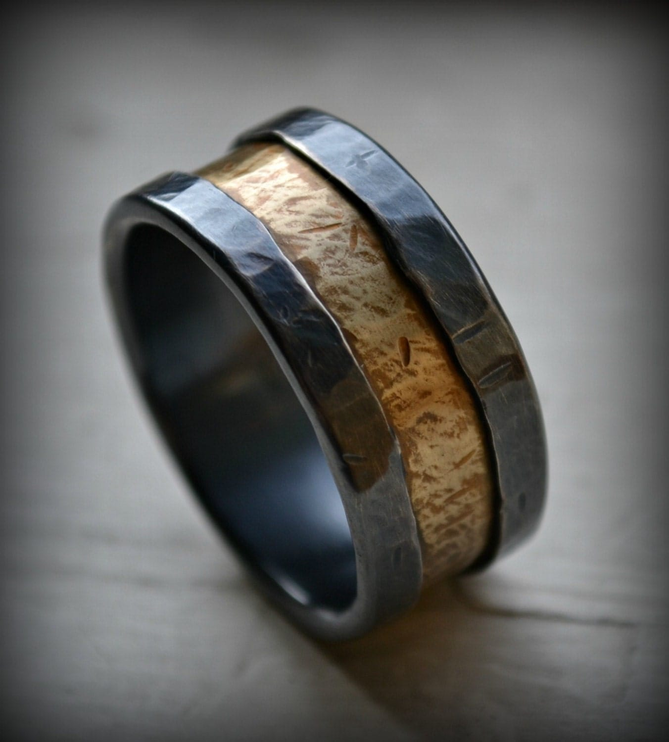mens wedding band rustic fine silver and brass ring handmade. Black Bedroom Furniture Sets. Home Design Ideas