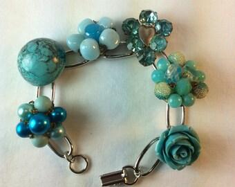 Vintage Earring Bracelet. Repurposed. Recycled. Wedding Bracelet, 1950's