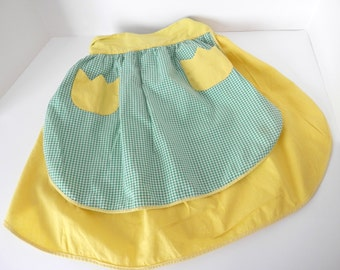 Vintage Yellow and Green Check Reversible Apron - Vintage Half Style Apron