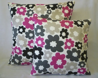 """BIG and Small PAIR Pillow Covers Fuschia Pink Grey Designer Cushions Throw Scatter Pillows 22"""" and 16"""""""