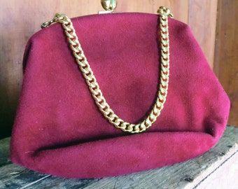 Vintage Raspberry Red Velvet Purse