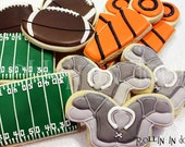 Football Cookies, Football, Shoulder Pad Cookies, Football Field Cookies, Down Marker Cookies