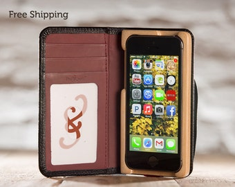 CLEARANCE - The Little Pocket Book Case for iPhone 5C - Onyx Black/Merlot