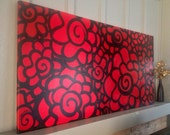long red rose painting // 24x48""