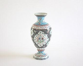 Vintage Hand Painted Enamel Vase