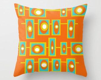 SALE, Orange Modern Pillow, Geometric Pillow, Mid Century Modern Pillow, Orange Pillow, Modern Cushion, Cool Cushion, Retro Pillow