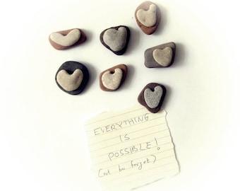 Unusual magnets -  5 natural Heart Shaped beach rocks