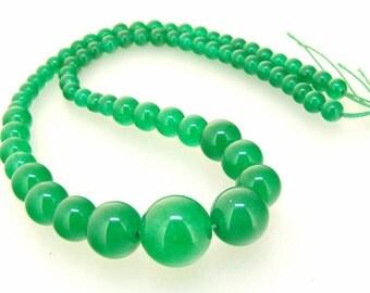 Loose Round Green Jade Gemstone Beads Strand 6mmx14mm Full Strand