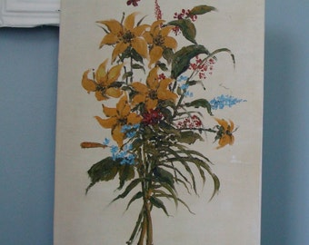 Vintage original floral oil painting on canvas 18 x 12