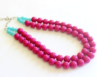 Pink statement necklace, Pink and Aqua necklace