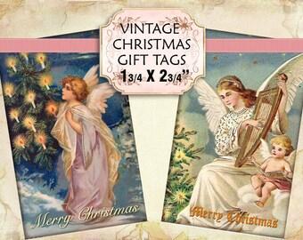 Vintage Victorian Angels Christmas Gift Tags digital collage sheet 2 1/2 x 4 inch size (239) Buy 3 get 1 bonus