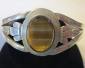 Vintage Sterling Silver Cuff Bracelet Featuring a Tiger Eye Stone