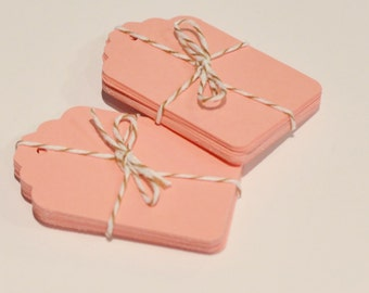 20 Pink Paper Tags, Die Cut Tag, Gift Tags, 20 Labels, Pink Die Cuts, Tags for Valentines Day