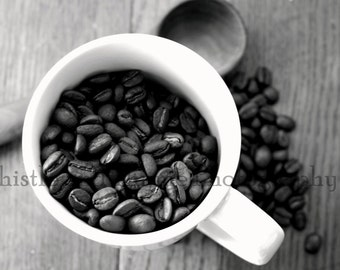 Coffee cup with Coffee Beans - Rustic Kitchen Art Photo