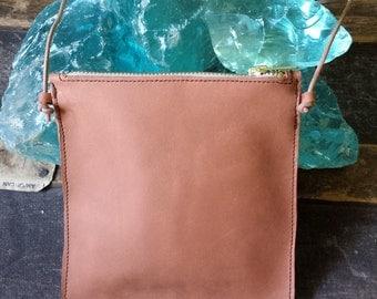 Handmade Leather Mini Cross Body Bag, Light Cognac