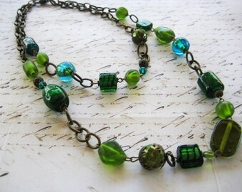SALE - Green and Turquoise Layer Necklace
