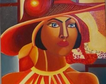 vibrant african american portrait of female