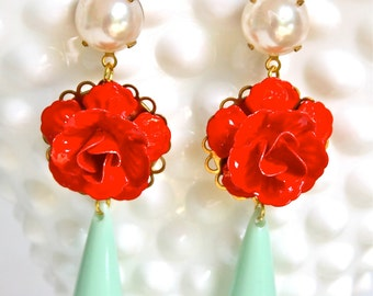 Vintage Cherry Red Flower Mint Green Drop Pearl Drop Dangle Statement Earrings - Wedding, Bridal, Bridesmaid, Beach, Tropical, One of a kind