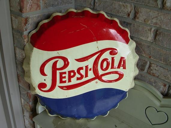 Pepsi Bottle Cap Sign Vintage Pepsi Cola Sign Original