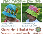 Cloche Hat & Bucket Hat PDF Sewing Pattern Bundle - S106/S107COMBO- Baby to Adult Size Hat E-Patterns