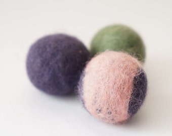 3 Wool Hand Felted Cat Toy Balls - Grab Bag