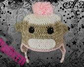 INSTANT DOWNLOAD Sock Monkey Hat Earflap Crochet PATTERN Baby to Adult