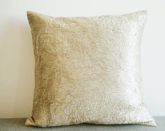 light gold warm silver pleated metallic pillow cover decorative pillow throw pillow - Gold Decorative Pillows