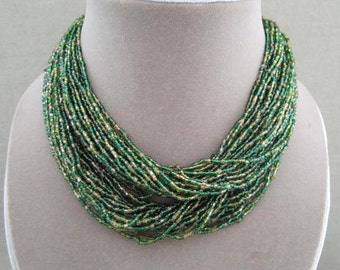 Green Bead Choker Necklace, short necklace, torsade multi strand seed beads emerald green vintage jewelry Japan