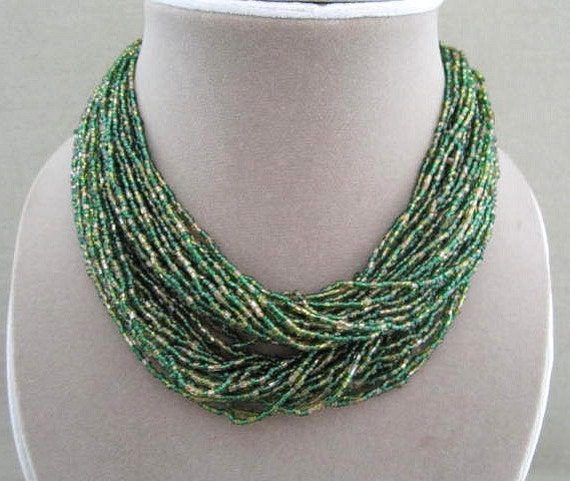 Multi Strand Emerald Green Bead Choker Necklace