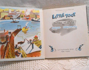 1939 LITTLE TOOT Book NY Harbor Tugboats, Young Tug Antics, Hc Weekly Reader Edition, Illustrated 1st Ed, Childrens Classic, Hardie Gramatky