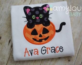Black Cat and Jack-O-Lantern Peekaboo Toddler Tee Shirt - Halloween - Kitty - Pumpkin - Child - Girl