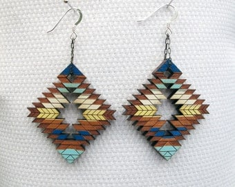 Tribal Abstract Earrings, Steens Mountains Alvor Desert, Large Wood Earrings