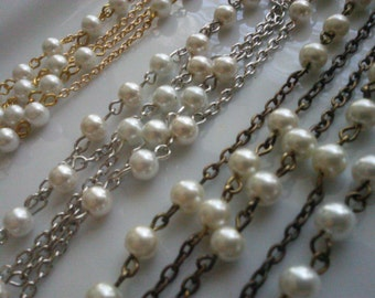 36 Inches, 6 mm Ivory Glass Pearls Beaded Rosary Chain Jewelry Making Supply . gold, silver or brass Chain