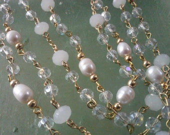 """36"""" Fresh Water Pearls  with  8 mm x 6 mm Frosted WhiteCrystal Rondelle, AB 6 mm Clear Round Beads and Gold  Looped Chain"""