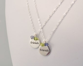 Best Friends Necklaces, Sterling Silver, Set of Two, Genuine Gemstone, Custom Made Birthstone Jewelry for Girls