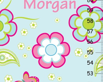 Pretty Flowers Butterflies and Paisleys Girls Growth Chart
