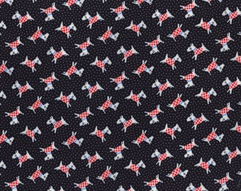 30's Playtime 2 - Scotties in Washed Black by Chloe's Closet for Moda Fabrics
