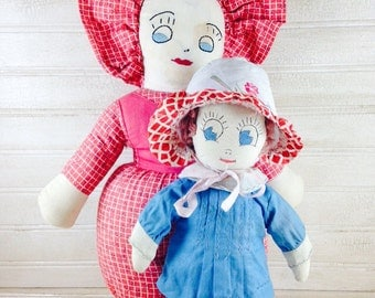 Vintage Pair of Handmade Cloth Dolls