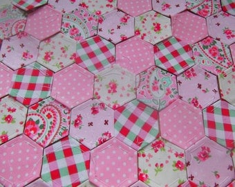 100 Pretty Fabric Hexagons for Patchwork ~ Ready to Sew~ Cath Kidston Pink & Cream