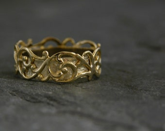 Gold Wedding Band, Filigree Lace Gold Wedding Ring, Unqiue Wedding Band, Filigree Ring, Wedding Ring, Wedding Jewelry