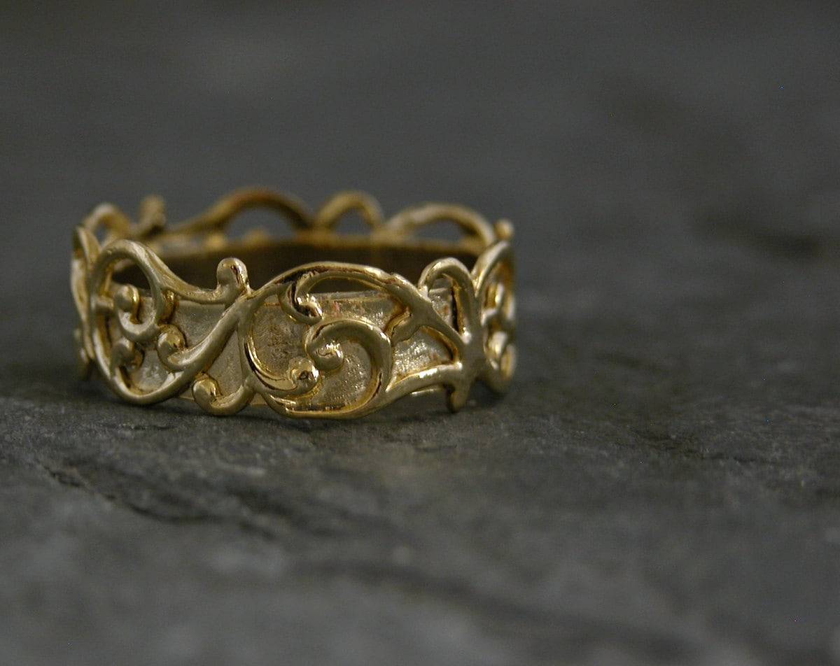 Gold Wedding Band Filigree Lace Gold Wedding Ring Unqiue